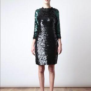 Lanvin black Green Sequin Dress